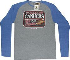 Vancouver Canucks CCM Raglan Long Sleeve 1992 Throwback T Shirt $35 Clearance