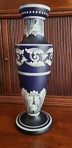 Cobalt Blue Satin Glass Vase White Enamel