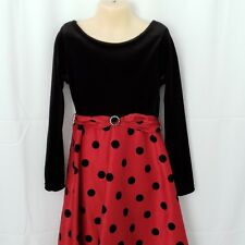 Dollie & Me Girls Dress Size 8 Holiday Party Black Velour Red Skirt Polka Dots