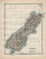 1902 MAP ~ NEW ZEALAND SOUTH ISLAND ~ CHRISTCHURCH