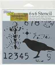STENCIL Ravenscape Crows  - 529 -  6x6 in Fiber Arts Mixed Media Collage Craft