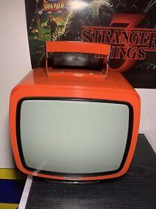 Ancien Televiseur Vintage Tv Schneider Popsy Orange 1970's Retro Télé Television