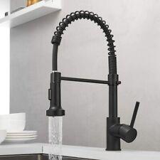 Matte Black Kitchen Faucet Single Handle Pull Down Sprayer Spring Kitchen Faucet