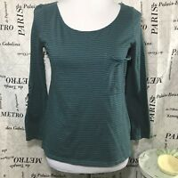 Roxy Womens S Shirt Teal Charcoal Striped 3/4 Button Tab Sleeves 100% Cotton