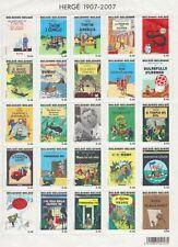 HERGE TINTIN plusieurs feuillets de timbres belges 2001, 2004 et 2007