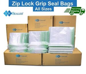 ZIP LOCK BAGS Resealable Reusable Clear Poly Plastic Grip Seal Bag All Sizes UK