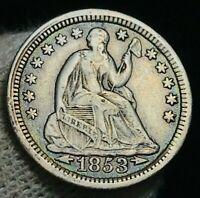 1853 Seated Liberty Half Dime 5C Arrows XF-AU High Grade US Silver Coin CC2390