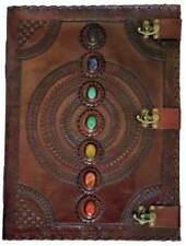 "13-1/2""x18"" Leather Chakra Stones Wiccan Spell Book Latched Journal 180 Blank"