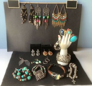 Vintage Lot Turquoise Jewelry...Loose Beads...Sterling Cross and Charm...Scarab Bracelet...Some Repair...Destash Lot...Supplies