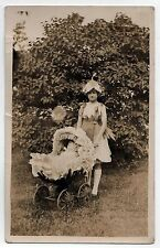 CHILD WITH DOLL Baby Carriage RPPC Real Photo Postcard GIRL Plant Dress TOY Kid