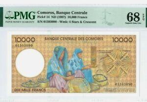 1997 COMOROS 10000 Francs PMG68 EPQ SUPERB GEM UNC [P-14]