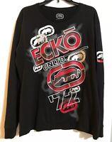Ecko Unltd Men's Black Graphic Long Sleeve T-shirt size L 100% Cotton NWT