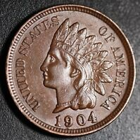 1904 INDIAN HEAD CENT -With LIBERTY & Near 4 DIAMONDS - AU UNC