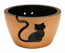 Handcrafted Kitty Cat Wooden Yarn Bowl for Knitting and Crochet - Gift Boxed