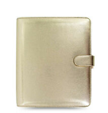 New Filofax A5 Size Saffiano Organiser Diary Planner Gold Leather - 022507
