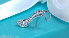NEW Tiffany & Co. Mini Platinum Diamond High Heel Shoe Charm Dangle Pump PT 950