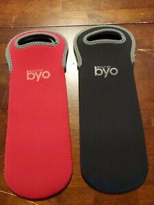 Set of 2 - Built NY-BYO Neoprene Wine Bags, Gift, Carrier 1- Red, 1- Black