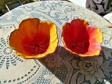 """2  CLAY ART RAISED FLOWER CEREAL OR SNACK BOWLS  3""""H, 5 1/2"""" ORANGE YELLOW PINK"""