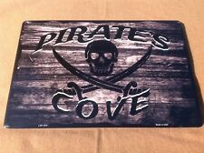"Pirates Cove Black Skull Swords Sign Vintage Garage Bar Wall LARGE 18"" X 12"""