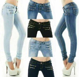 Women's Skinny low waist Jeans Slim stretch denim Pants Sizes UK 4- 12
