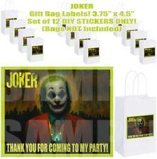 "Joker Party Favor Stickers Gift Bag Labels 3.75"" x 4.75""-12 pcs"