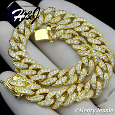 "8.5""MEN 925 STERLING SILVER 8MM ICY DIAMOND GOLD MIAMI CUBAN CHAIN BRACELET*G11"