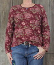J Jill  L size Compassion Tee Shirt Burgundy Pink Floral Top Womens Stretch