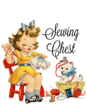 Vintage Image Retro Little Girl Sewing Chest Transfers Waterslide Decals Mis516