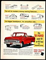 1961 FORD Styleside Red Pickup Truck Sixties 1960s AD Old Advertising