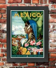 TT45 Vintage Mexican Mexico Travel Tourism Framed Poster Re-Print A3/A4