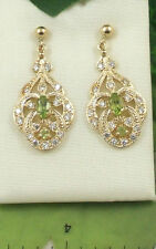 LFE5P Ladies Solid 9ct Yellow Gold Real Peridot & Cubic Zirconia Drop Earrings