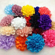 5pcs satin ribbon big Peony Flower Appliques/craft/Wedding decoration Mix !