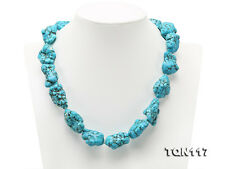 "Charming Baroque Irregular Blue Turquoise Necklace Gemstone 20""  AAA"