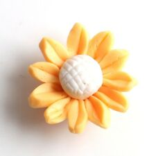 4PCS CHARMS F Sun-flower Gold Color FIMO Polymer Clay Spacer Beads Pendants