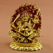 "7"" Chuchepa Mahakala Copper Statue Gold Gilded Face Painted Hand Carved Patan"