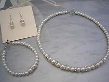 Pearl Diamante Jewellery Set Necklace Bridal Bridesmaid Wedding Vintage Style E2