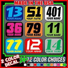 3x Dirt Bike Number Name Plate Mini Decals Stickers Flat Track Race Pro AMA MX