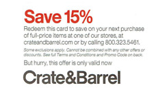 CRATE AND BARREL 15% OFF ENTIRE PURCHASE-1COUPON INSTORE/ONLINE - INCL FURNITURE