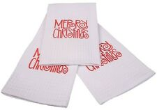 100% Cotton Shabby White Embroidered Terry  ~ MERRY CHRISTMAS ~ Tea Towel