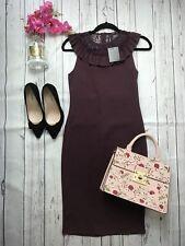 Zara Sz Medium 10 12 Burgundy Tight Wiggle Dress Lace Neck Frills Knee Length