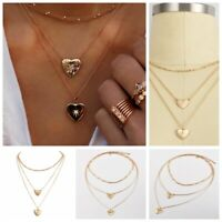 Fashion Crystal Double Heart Necklace Pendant Women Gold Chain Chocker Jewelry