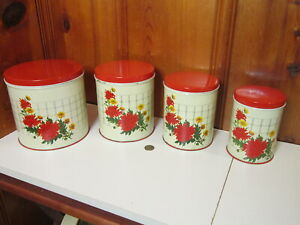 Set of 4 Vintage 1940's NC Colorware Tin Kitchen Canister Red Kitchen Flowers