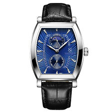 MENS STOCKWELL MOON PHASE WATCH BLUE DIAL LEATHER STRAP GIFT BOX RRP £500 🌍