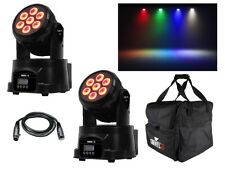 2 x Equinox Fusion 50 MKII LED Wash In movimento Testa DJ discoteca effetto luce RGBW + BAG