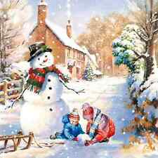 Christmas 20 Paper Lunch Napkins WINTER COUNTRYSIDE Snowman Winter Children Snow