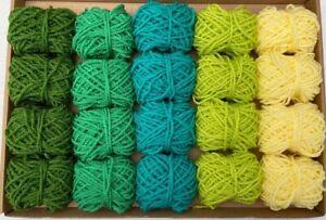 Yarn Wool Green Knitting Crochet Pompom Crafts Bundle DK Small Balls Job Lot