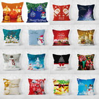 18'' Xmas Cotton Pillow Case Linen Cushion Cover Merry Christmas Home Decoration