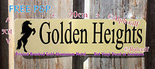 """SIGN Stable door plaque """"Rearing Horse"""" Personalised Brushed Gold Ali NOT Vinyl"""