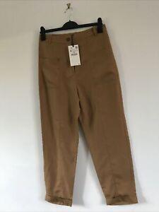 BNWT Zara Caramel Linen Blend Trousers with Pockets Sz Medium M