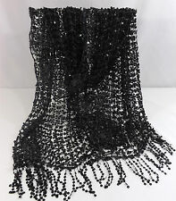 Scarf Shawl Wrap Table Runner Net Evening Black with Black Sequins WOW Factor